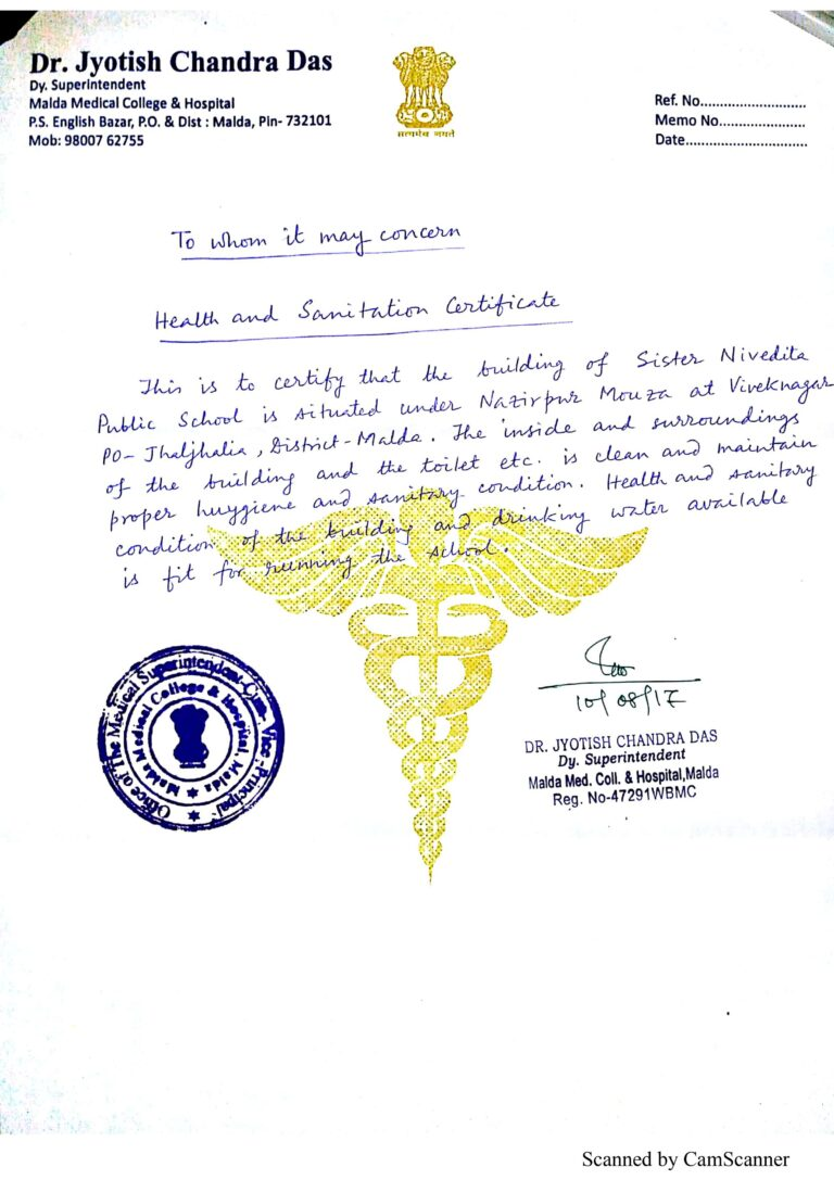 WATER, HEALTH AND SANITATION CERTIFICATES