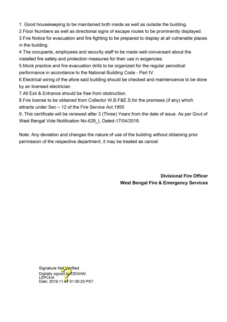 Fire Safety Certificate Page 02